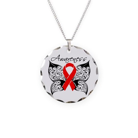 AIDS Noir Butterfly Necklace Circle Charm