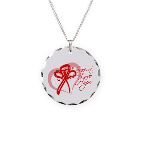 AIDS Support Love Hope Heart Necklace Circle Charm
