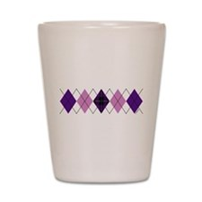 Purple Plaid Argyle Shot Glass