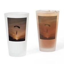 Drinking Glass with Sunset Skydiver
