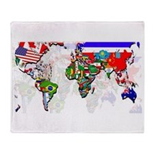 World Flags Map Throw Blanket