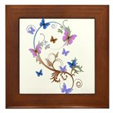 Blue & Purple Butterflies Framed Tile