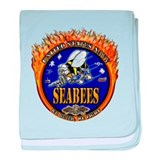 USN Navy Flaming Fighting Sea baby blanket