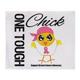 Breast Cancer One Tough Chick Throw Blanket
