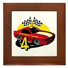Race Car 4th Birthday Framed Tile