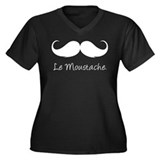 Le Moustache. Women's Plus Size V-Neck Dark T-Shir
