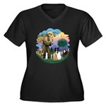 StFrancis2 / Women's Plus Size V-Neck Dark T-Shirt