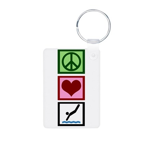 Peace Love Diving Aluminum Photo Keychain