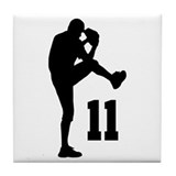 Baseball Uniform Number 11 Tile Coaster