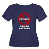 I GO TO PATTAYA Women's Plus Size Scoop Neck Dark