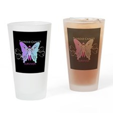 Thyroid Cancer Survivor Butterfly Drinking Glass