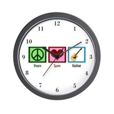 Peace Love Guitar Wall Clock
