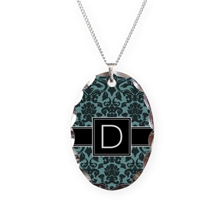 Monogram Letter D Necklace Oval Charm