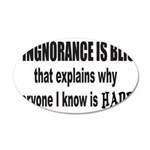 IGNORANCE IS BLISS 22x14 Oval Wall Peel