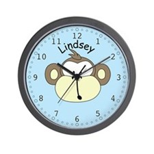 Lindsey - Blue Monkey Wall Clock