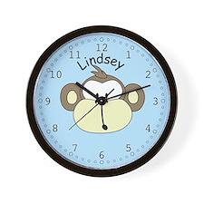 Lindsey - Blue Monkey Wall Clock