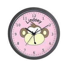 Lindsey - Pink Monkey Wall Clock