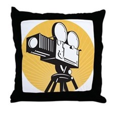 vintage movie camera Throw Pillow