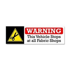 Fabric Shops Warning Car Magnet 10 x 3