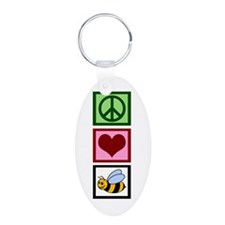 Peace Love Bees Keychains