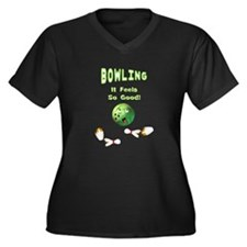 Bowling Feels Good Women's Plus Size V-Neck Dark T