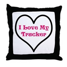 I love my trucker heart Throw Pillow