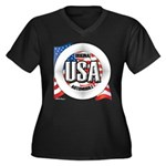 USA Original Women's Plus Size V-Neck Dark T-Shirt