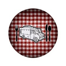 "Food Truck Plate & Utensils 3.5"" Button (100 pack)"