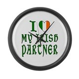 I Love My Irish Partner Large Wall Clock
