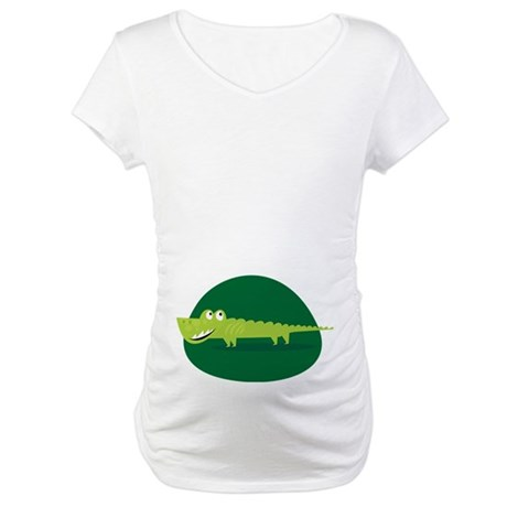 Alligator Belly Print Funny Maternity T-Shirt