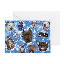 Pit Bull Snowflakes Greeting Card