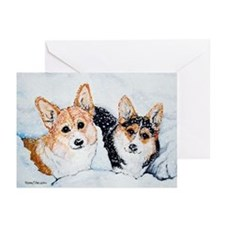 Corgi Snow Dogs Greeting Cards (Pk of 10)
