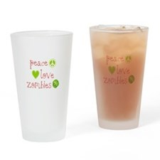 Peace, Love and Zombies Drinking Glass
