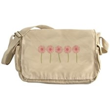 Row Of Pink Daisies Messenger Bag