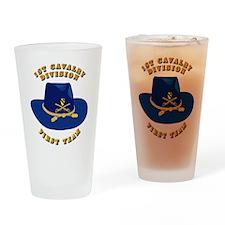 Army - 1st Cav - 1st Team Drinking Glass