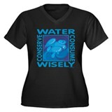 Water Conservation Women's Plus Size V-Neck Dark T