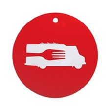 Food Truck: Side/Fork (Red) Ornament (Round)
