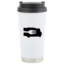 Food Truck: Side/Fork (Black/White) Ceramic Travel