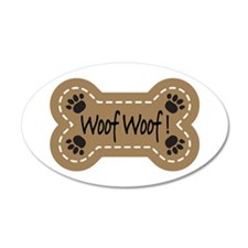 Dog Bone Paw Print Woof 38.5 x 24.5 Oval Wall Peel