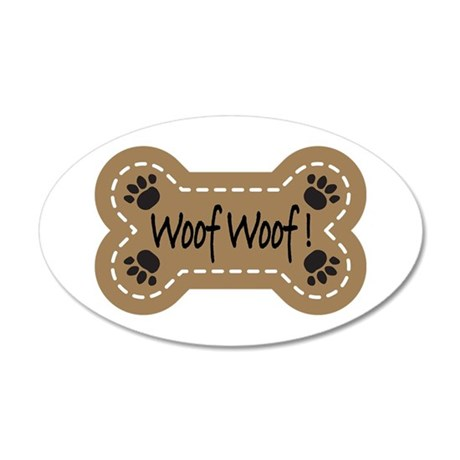Dog Bone Paw Print Woof 22x14 Oval Wall Peel