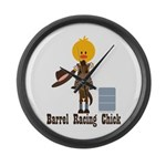 Barrel Racing Chick Large Wall Clock