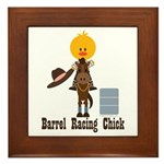 Barrel Racing Chick Framed Tile
