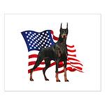 American Flag Doberman Small Poster