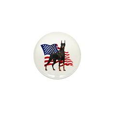 American Flag Doberman Mini Button