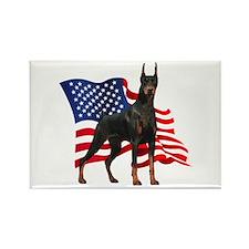 American Flag Doberman Rectangle Magnet