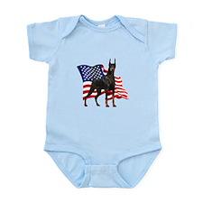 American Flag Doberman Onesie