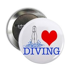 "Love (heart) Diving 2.25"" Button"