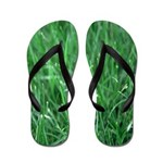 Green As Grass Flip Flops