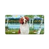 Birches &amp;amp; Brittany Spaniel Aluminum License Pl