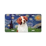 Starry - Brittany Spaniel Aluminum License Plate
